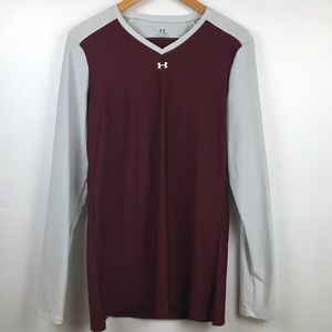 Under Armor Dark Red and Silver/ Gray Shirt